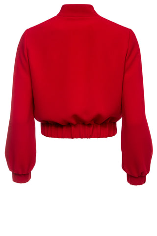 Kylie Red Crepe Bomber Jacket