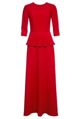 Scarlet Gown with Pleated Peplum