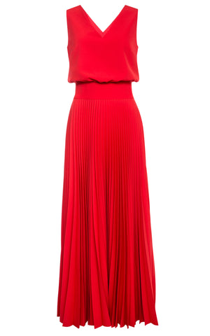 Vivian Sleeveless V-Neck Pleated Dress