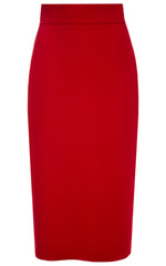Karen Red Crepe Pencil Skirt