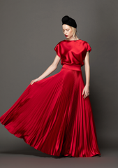 Ariana Soleil Pleated Satin Gown