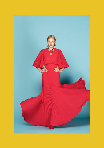 Ruby Gown with Pleated Godet and Sleeves