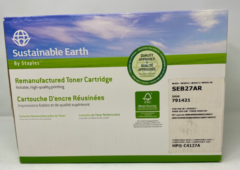 Staples Sustainable Earth Remanufactured Toner Cartridge SEB27AR