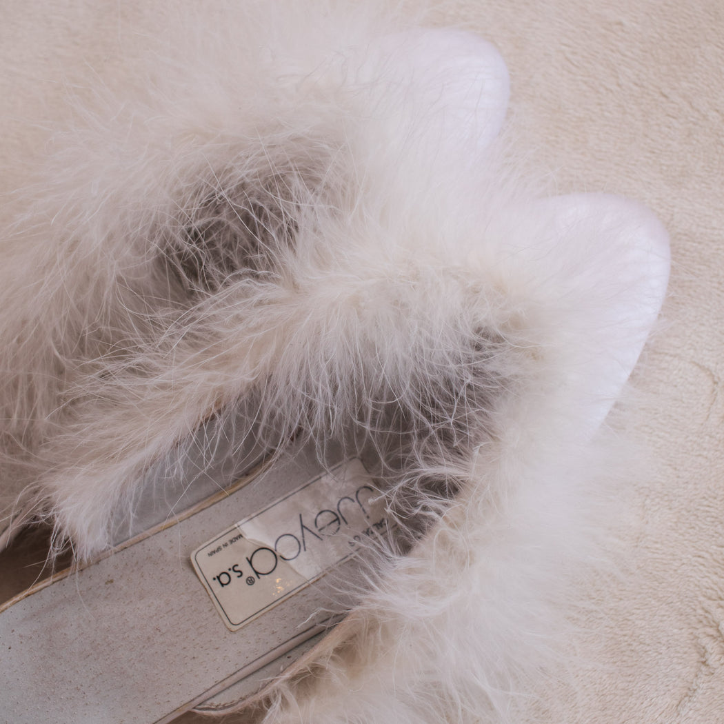 Vintage White Feather Slipper Mules