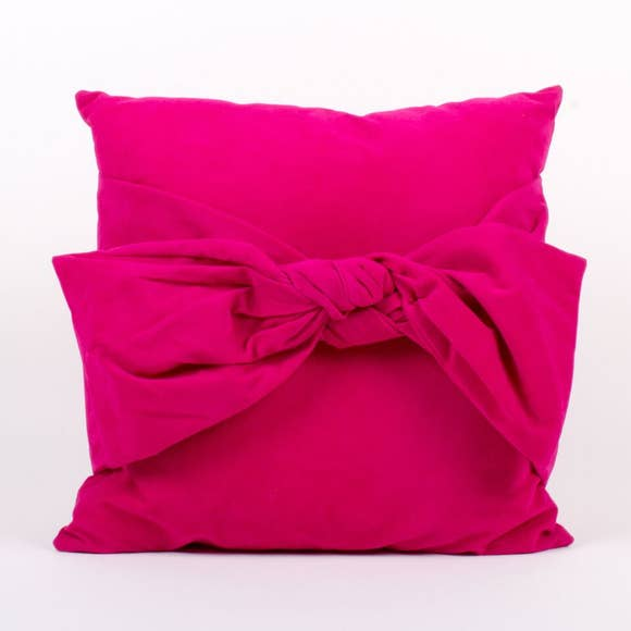 Pink Velvet Bow Pillow