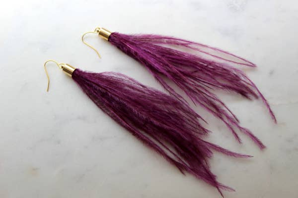 Purple Feather Earrings, Long Fringe Earrings