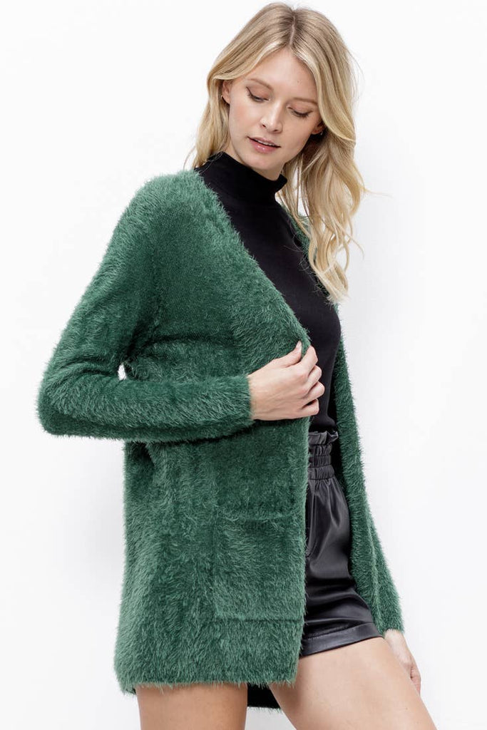 Fuzzy Open Front Pocketed Sweater Cardigan