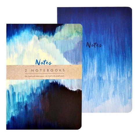Journal Collection Two Notebooks- Blue Abstract