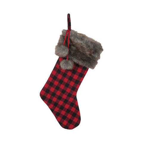 Buffalo Check Faux Furn Trimmed Stocking