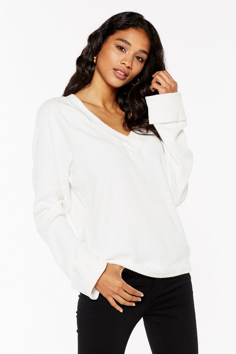 Project Social T Shea Ribbed Cozy V-Neck