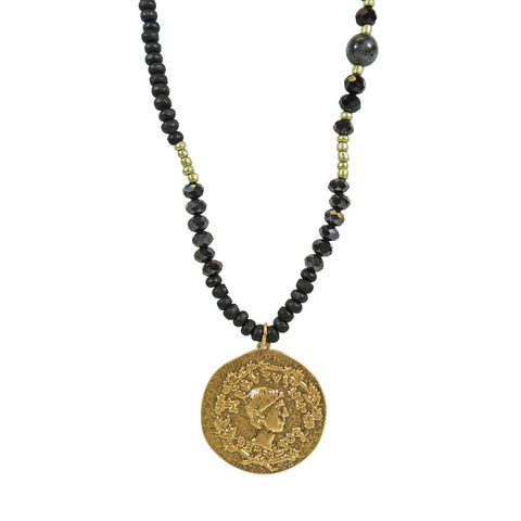 Beaded Coin Charm Necklace
