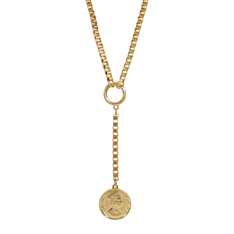 Coin Charm Y Necklace