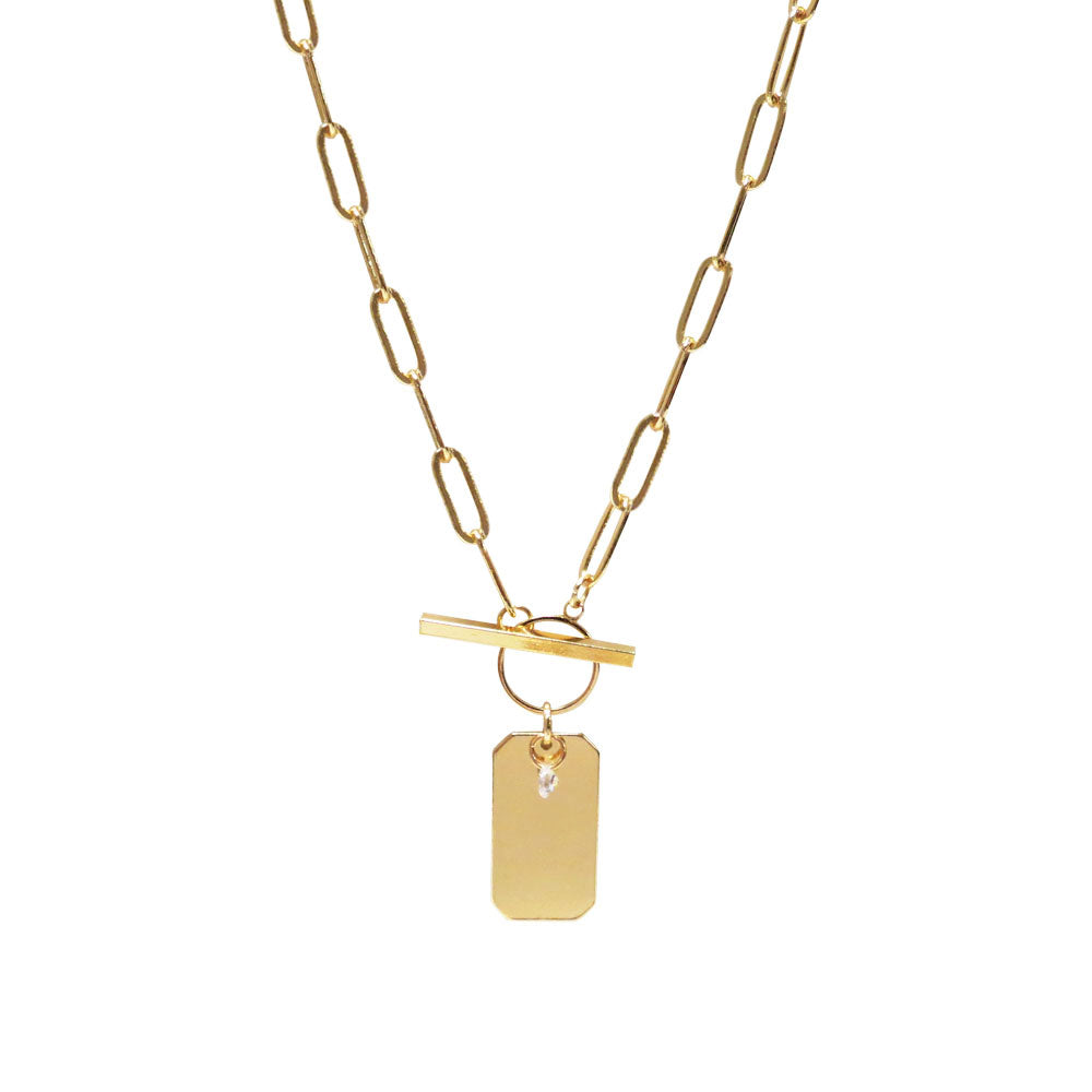 Rectangular Charm Chain Necklace