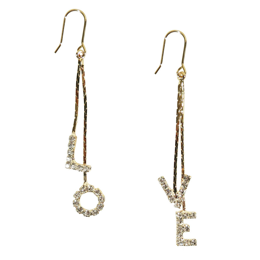 Love Rhinestone Dangle Earrings