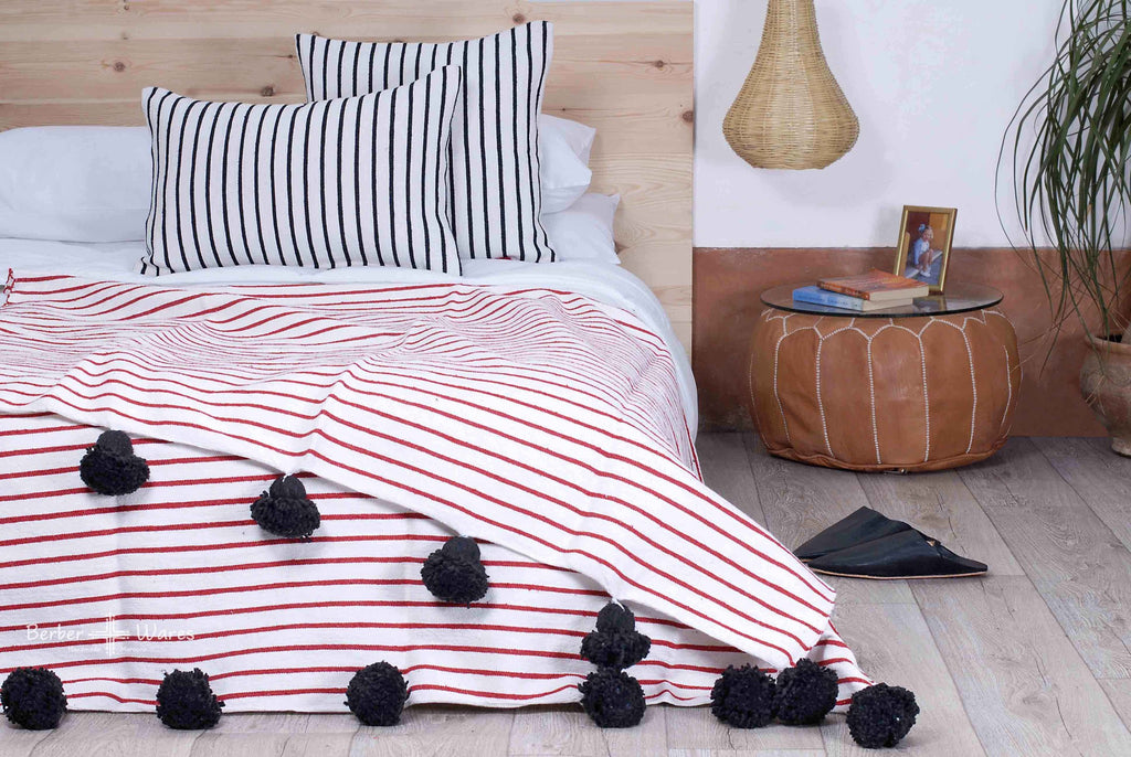 Berber Wares Venetian Red + Black Cotton Pom Blanket