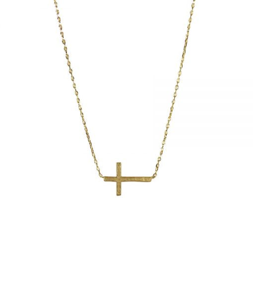 Hammered Cross 18K Necklace