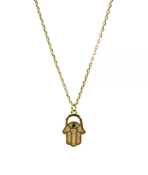 Hand of Hamsa Dainty 18k Necklace