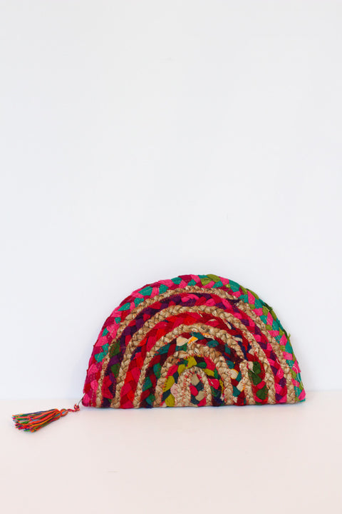 Remedy Road Half Moon Multi Colored Jute Clutch