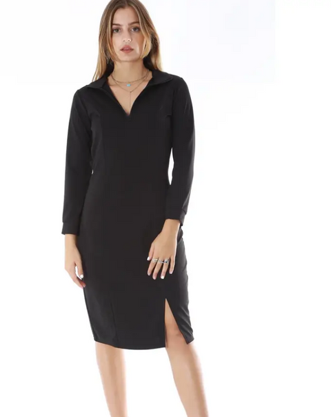 Long Sleeve Mock Neck With Zipper Front Dress