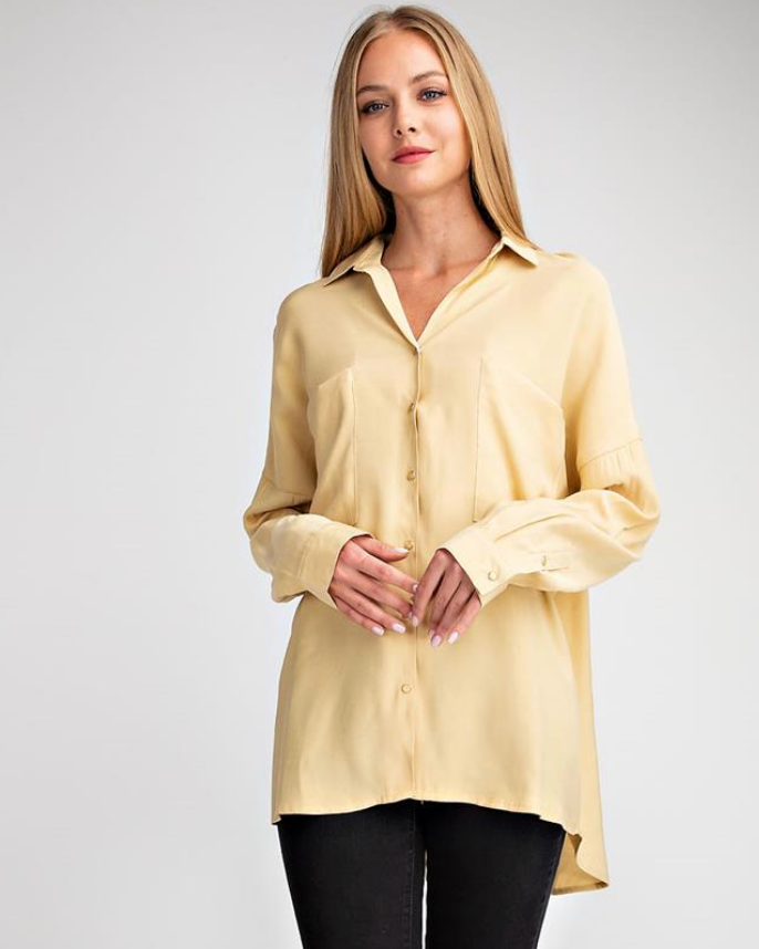 Oversized Tencel Button Down Shirt