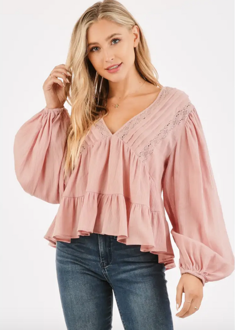 Blush Crochet Blouse