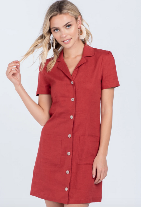Button Down Midi Linen Dress