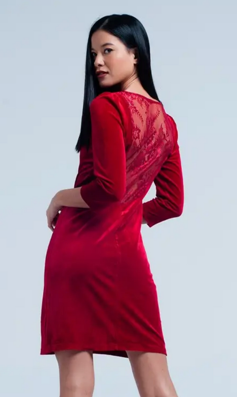 Red Velvet Mini Dress Open Back
