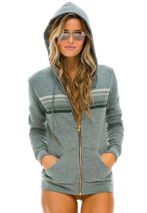 Aviator Nation 5 Stripe Zip Hoodie