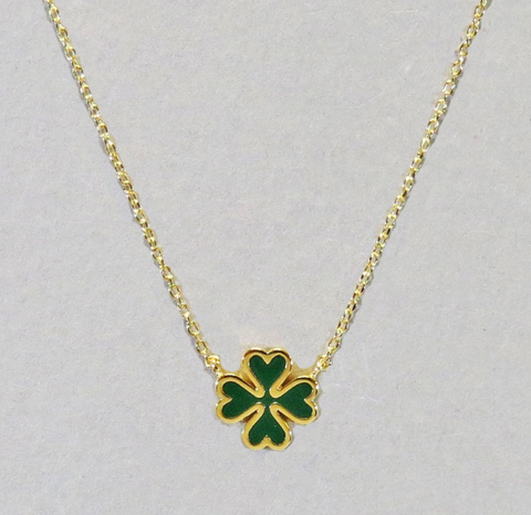 18K Gold Dipped Dainty Clover Necklace
