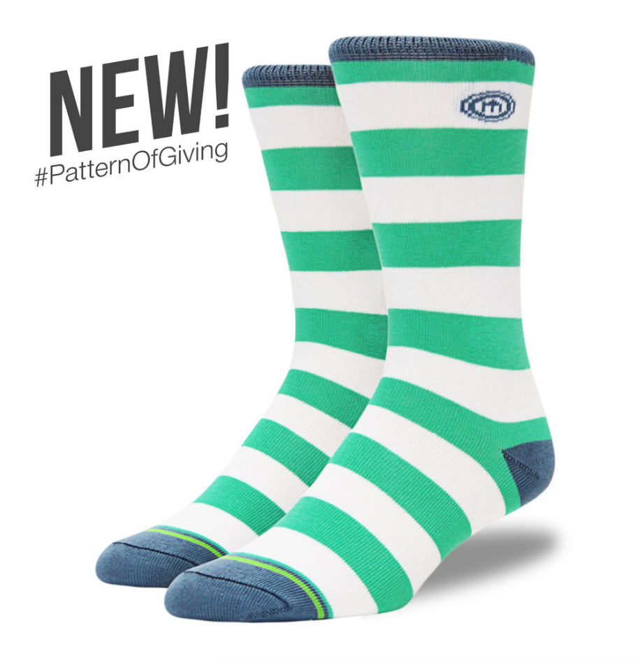 Mitscoots The Valorie - Men's Teal Striped Socks