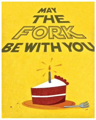 Good Paper Fork Be With You Birthday Card