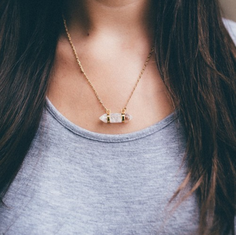 The Shine Project Crystal Prism Bar Necklace