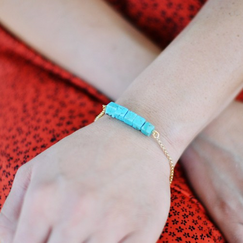 The Shine Project Turquoise Square Bracelet