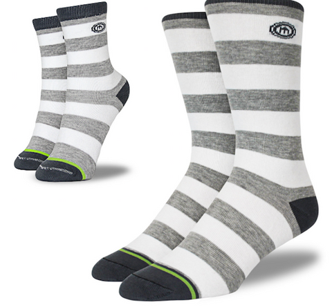 Mitscoots The Zach - Dad + kid Gray Striped Socks