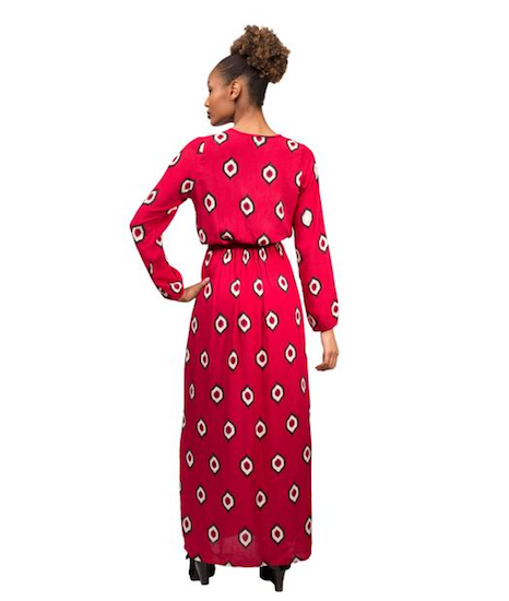 Symbology Eye of the Ikat Button Down Maxi - Burgundy