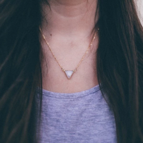 The Shine Project Moonstone Triangle Drop Necklace