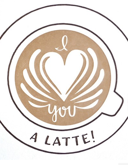 Good Paper I love you a latte card