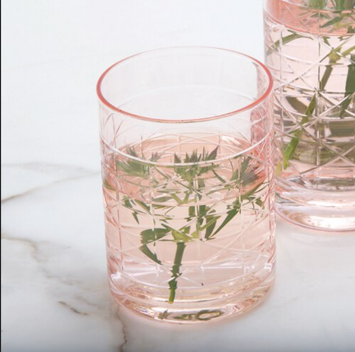 Pink Cane Old Fashioned Glass