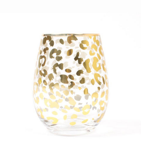 Stemless Wine Glass- Gold Leopard