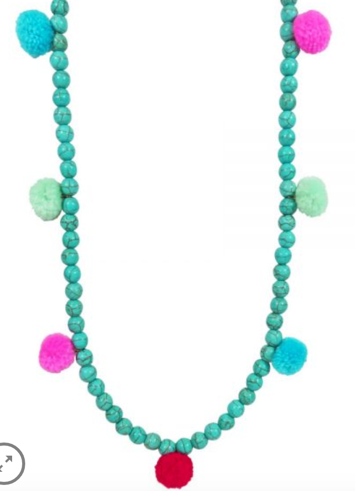 Stone Pom Pom Necklace
