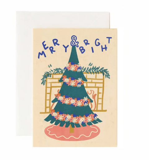 Merry & Bright Christmas Tree Holiday Greeting Card