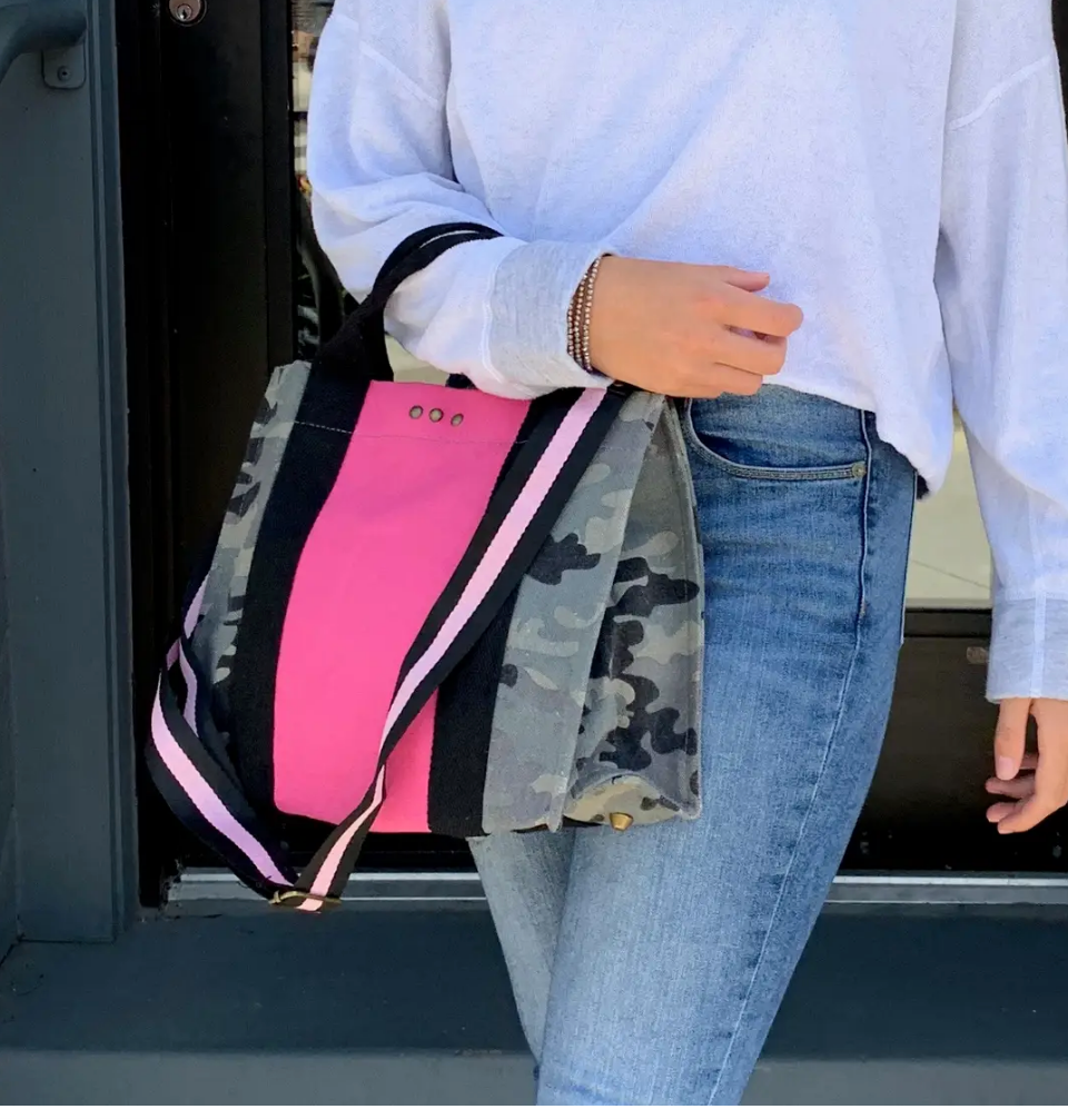 PS Canvas Bag-Camo With Pink
