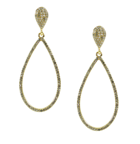 Pave Rhinestone Teardrop Earrings