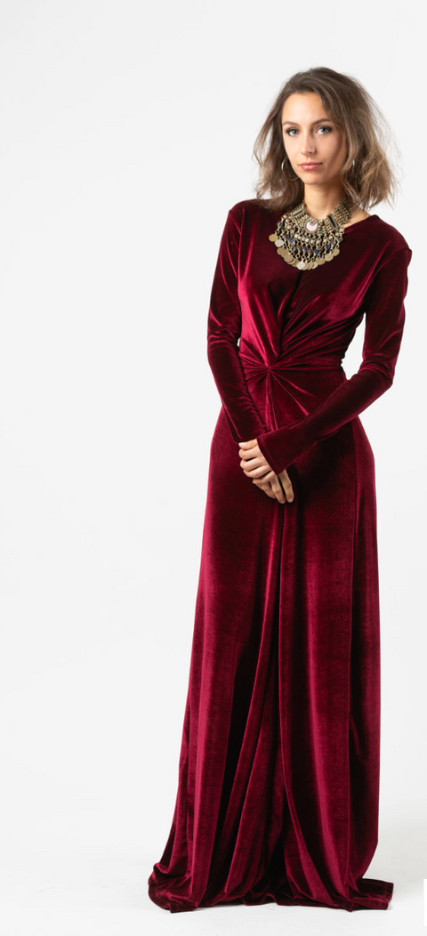 Oxblood Velvet Knot Dress