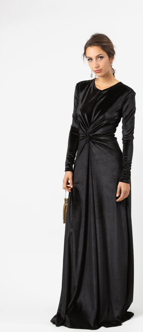 Black Velvet Knot Dress
