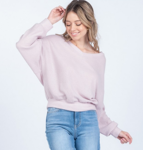 Everly Lavender Knit Top