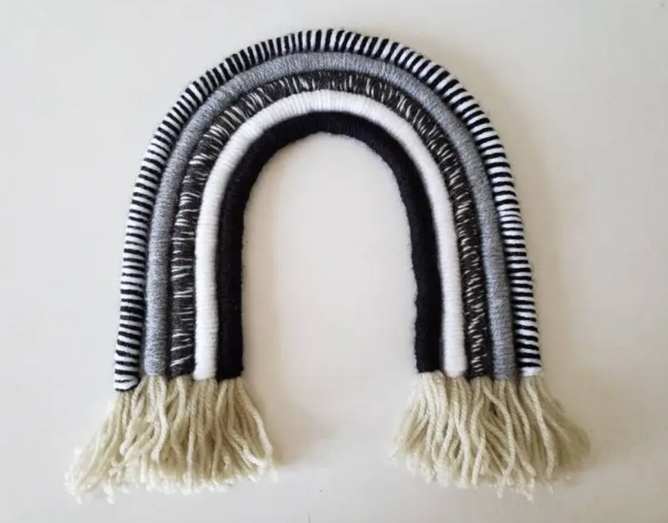Black and White Woven Rainbow Wall Hanging