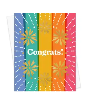 Bright Floral Foil Stamped Congratulations Card