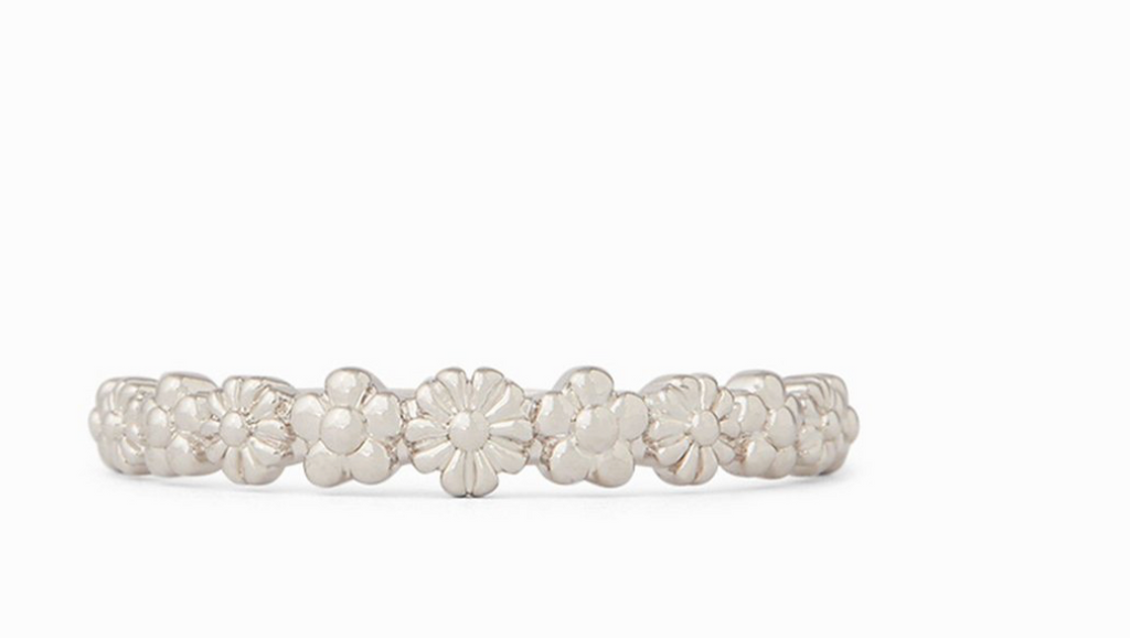 Pura Vida Floral Stacking Ring- Silver