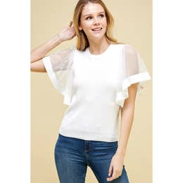 Short Wide Flutter Sleeve Knit Top